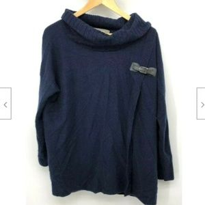 Ply Cashmere Womens Sweater Poncho Buckle Blue S